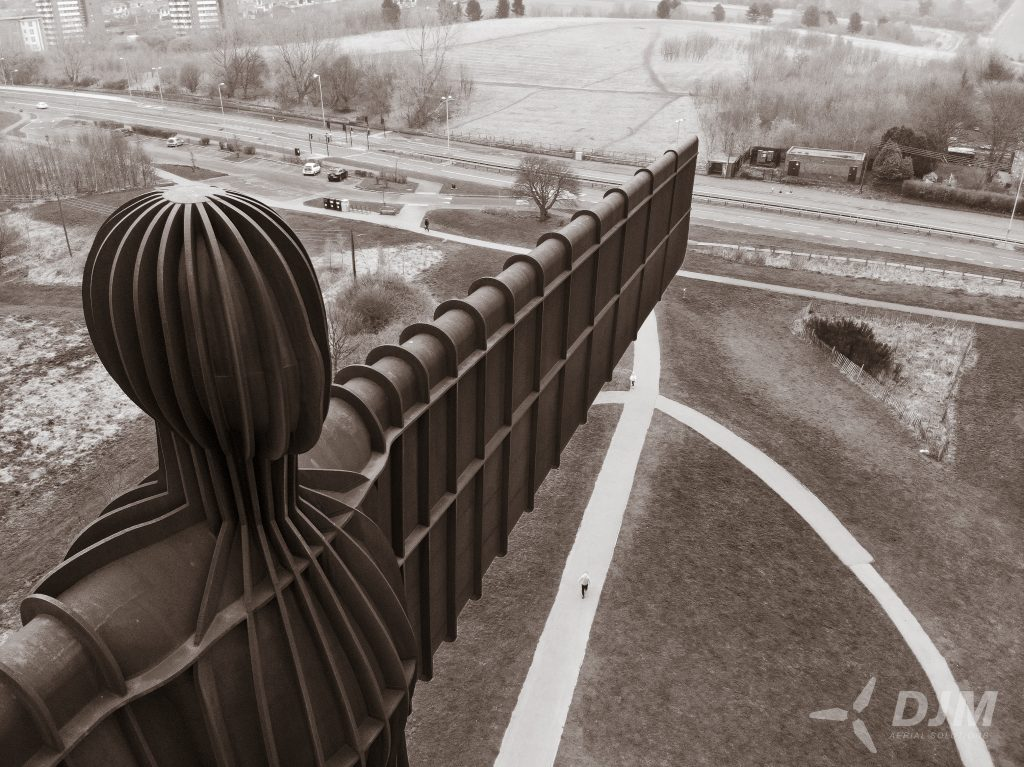 Angel of the North Black and White DJM Aerial Solutions