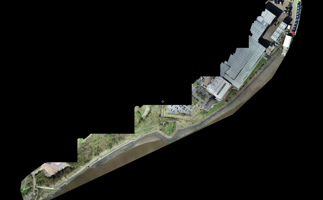 photogrammetry orthomosaic drone captured data topographical survey riverbank survey river tyne tyne side